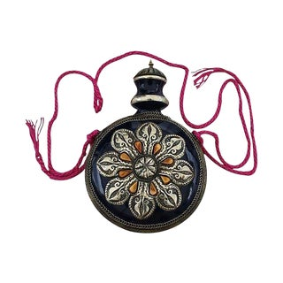 Hand-Engraved Moroccan Ceramic Decanter