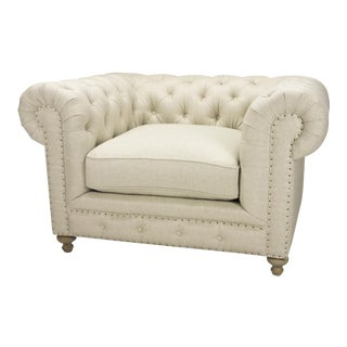 Spectra Home Traditional English Linen Chesterfield Chair