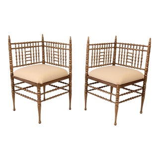 Victorian Gilt Wood Hand Turned Bobbin Corner Chairs- A Pair