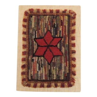 Fantastic Miniature Mounted 19th Century Hand-Hooked Rug on Board