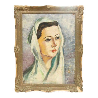 Framed Portrait of a Woman Painting
