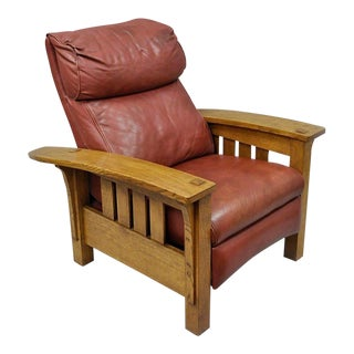 Stickley Mission Oak Bustle Back Leather Bow Arm Reclining Lounge Chair