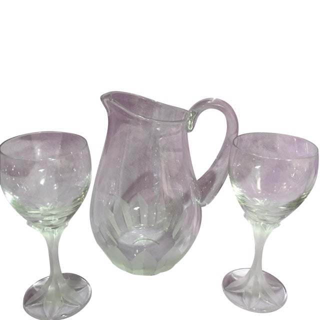 Cartier Crystal Etched Pitcher With Glasses Chairish