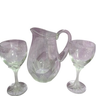 Cartier Crystal Etched Pitcher With Glasses