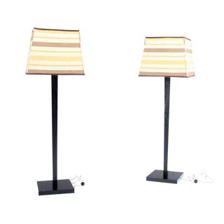 Two Large Floor Lamp Torcheres in Cerused Ebonised Oak with Box Shape Shades