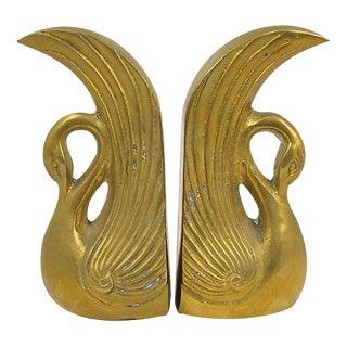 Art Deco Brass Swan Bookends - A Pair