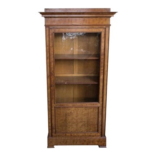 French 19th Century Chestnut Bookcase with Original Glass Door
