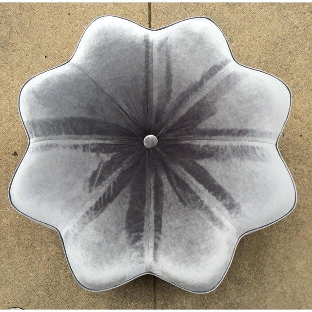 Vintage Silver Plush Velvet Star Ottoman - Image 2 of 9