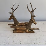 Image of Large Brass Resting Deer - A Pair