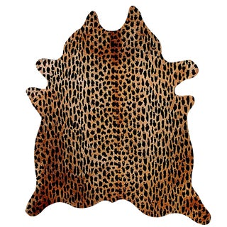 Handmade Leopard Print Cowhide Rug - 6' x 7'