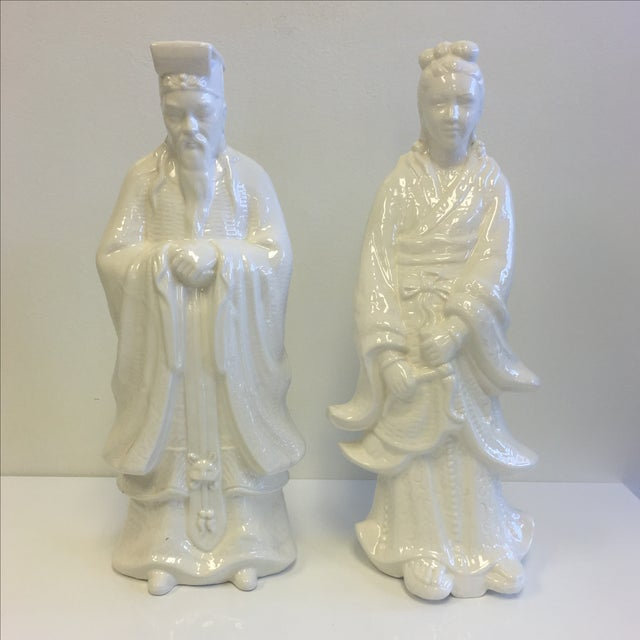White Chinoiserie Statues - Pair - Image 2 of 11