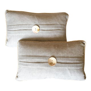 Neutral Nautical -Mother of Pearl & Rope Trim Pillows- a Pair