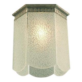 French Art Deco Flush-mount Fixture, Six Glass Panels