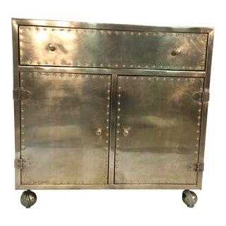 1970s Hollywood Regency Brass Clad Bar Cabinet