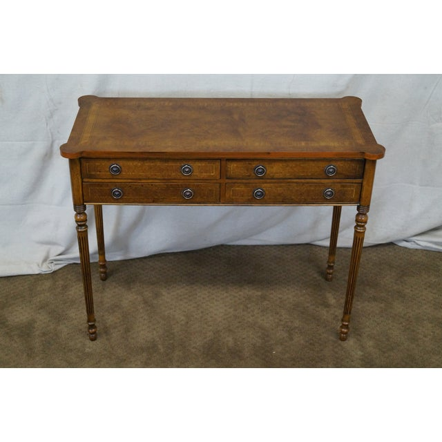 English Burl Walnut Sheraton Style Console Table - Image 2 of 10