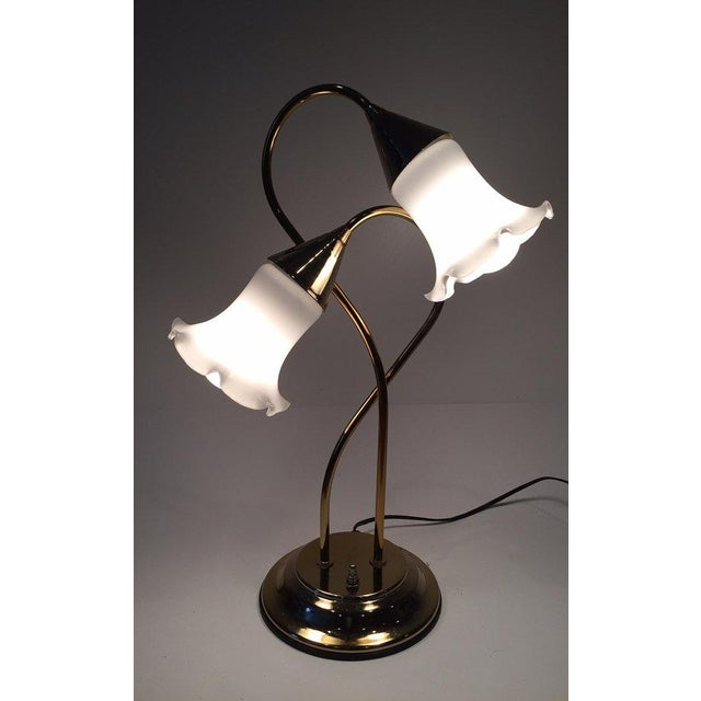 Vintage Brass Lotus Double Light Lamp - Image 4 of 7