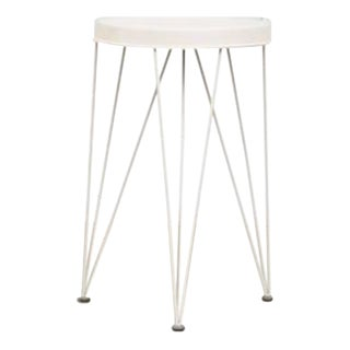 White Pilastro Metal Stool with Wire Legs