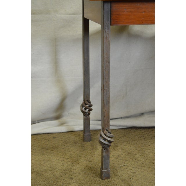 Custom Pair of Iron Base Tray Top Side Tables - Image 4 of 11