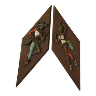 Turner Atomic 1950s Diamond Shaped Harlequin Wall Hangings- A Pair