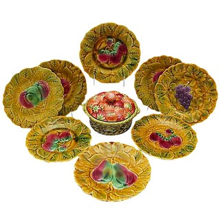 Mid-Century French Majolica Berry Serving Set