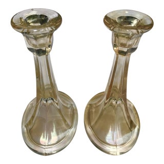 Pair of Topaz Iridescent Stretch Depression Glass Candlesticks