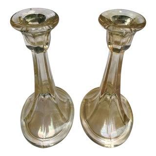 Topaz Iridescent Stretch Depression Glass Candlesticks - A Pair