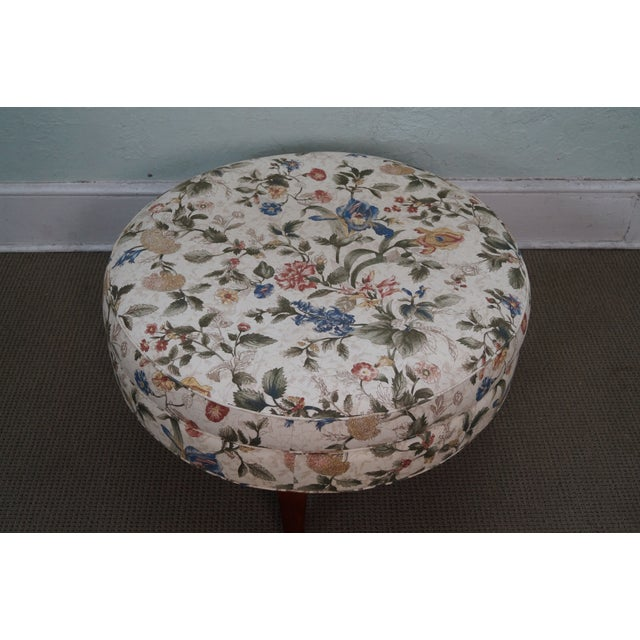 Floral Upholstered Round Ottoman - Image 3 of 10