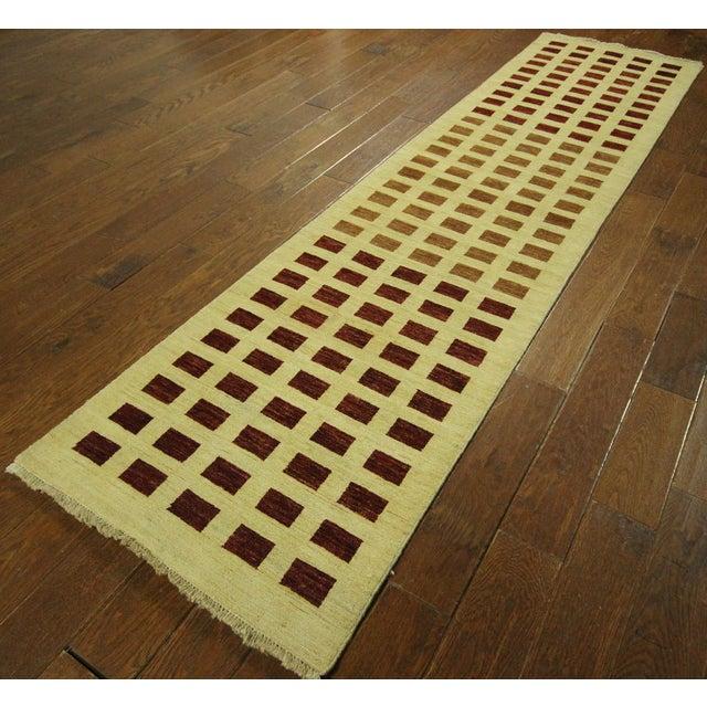 Ivory Checkered Kashkuli Gabbeh Runner - 3'x10' - Image 2 of 9