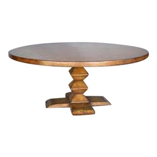 Custom Round Walnut Wood Dining Table With Stacked Pyramid Pedestal