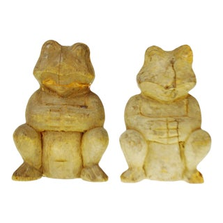 Vintage Rustic Hand Carved Wooden Frogs - a Pair