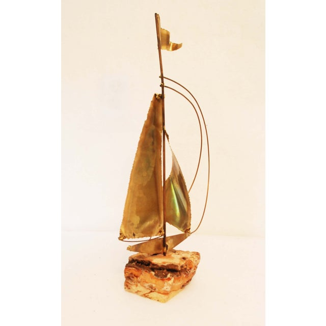 Image of Vintage Stone Base Brass And Copper Sailboat