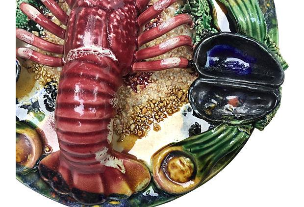 Majolica Lobster & Clam Wall Plate | Chairish