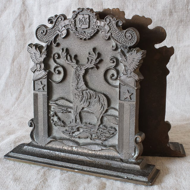 Antique Fraternal Bronze Elks Club Bookends - Pair - Image 2 of 8