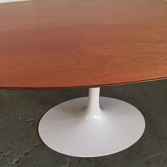 Vintage Knoll Tulip Dining Table with Teak Top - Image 4 of 7