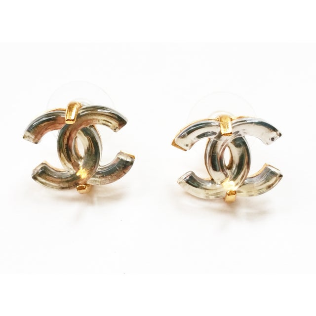 Image of Chanel Gold CC Mirror Piercing Earrings