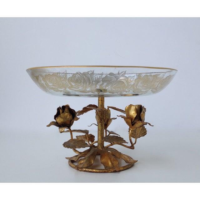 Gilt Italian Tole & 22k Gold Glass Center Bowl II - Image 5 of 8