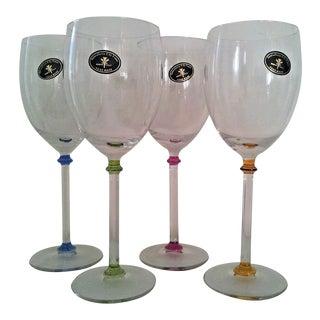 Italian Pillar Stem Wine Goblets - S/4