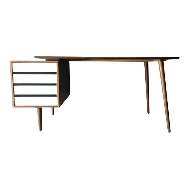 Custom Large Mid Century Style Walnut Desk - Image 1 of 11