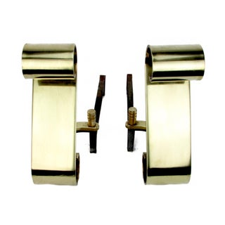 Sleek S-Curve Cast Brass Andirons w/ Iron Fire Dogs - a Pair