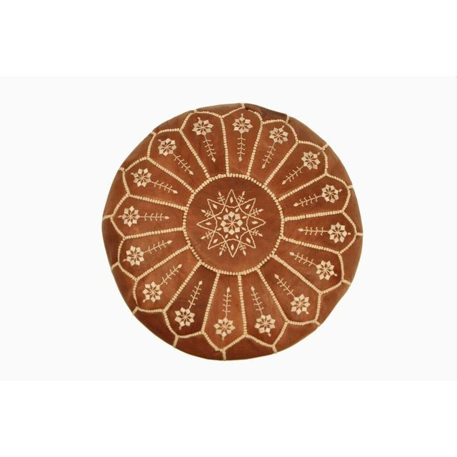 Moroccan Leather Pouf in Chestnut Starburst (Stuffed) - Image 2 of 4