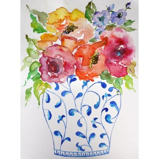 Chinoiserie Floral Still Life Watercolor Painting