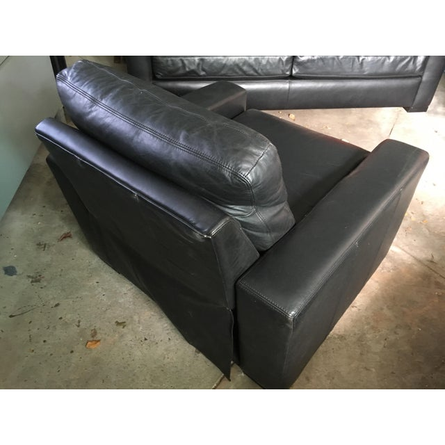 Restoration Hardware Black Leather Maxwell Recliner - Image 4 of 4
