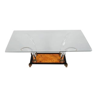 Mid Century Lucite Burl Wood and Glass Cocktail Table