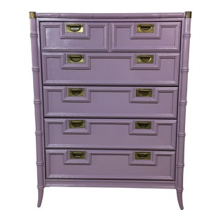 Stanley Lavender Lacquered Faux Bamboo Chest