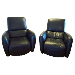 Italsofa Black Leather Recliners - A Pair