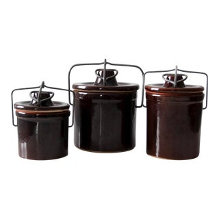 Vintage Ceramic Ball Lock Jars - Set of 3