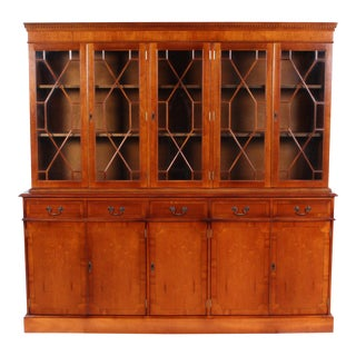 Vintage English Breakfront Bookcase