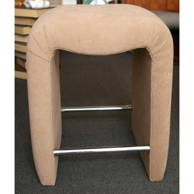 Luxe Modern Faux Ostrich Upholstered Stools - Image 5 of 9