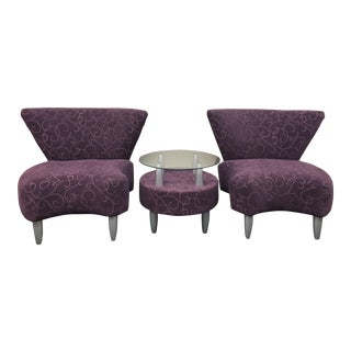 Contemporary Purple Accent Chairs With Matching Side Table - 3 Pc. Set