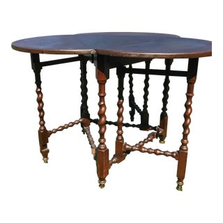 Mahogany Clover Leaf Gate Leg Side Table with Barley Twist Legs
